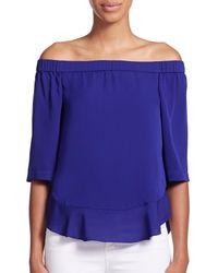 Rebecca Taylor - Purple Silk Georgette Off-the-shoulder Top - Lyst