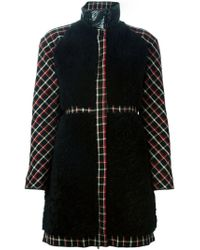Moncler Gamme Rouge - Black Panelled Check Padded Coat - Lyst