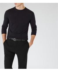 Reiss - Blue Riddle Merino Crew-neck Jumper for Men - Lyst