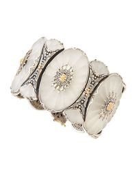 Konstantino - Multicolor Floral Carved Frosted Crystal Cuff Bracelet - Lyst