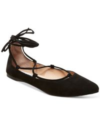 Steve Madden | Black Eleanorr Suede Lace-up Flats | Lyst