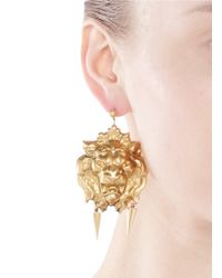 Ela Stone | Metallic 'nala' Lion Head Spike Drop Earrings | Lyst