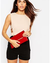ASOS - Red Slot Through Bar Clutch Bag - Lyst
