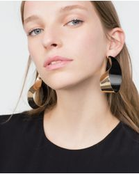 Zara | Metallic Golden Earrings | Lyst