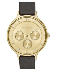 Skagen | Black 'anita' Multifunction Leather Strap Watch | Lyst