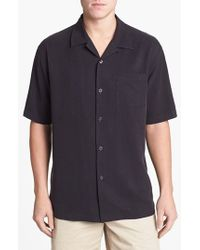 Tommy Bahama - Black 'dobby' Original Fit Silk Camp Shirt for Men - Lyst