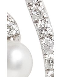 AS29 | Metallic White Gold And Pearl Lucy Earrings | Lyst