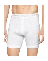 Calvin Klein | White Classic Button Fly Boxer Briefs, Pack Of 3 for Men | Lyst