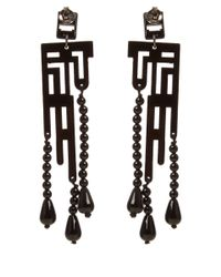 Anna E Alex | Small Black Labirinto Deco Wooden Drop Earring | Lyst
