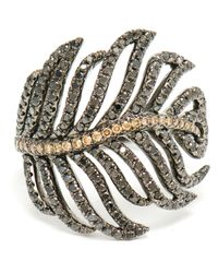 Rosa De La Cruz | Black Diamond Feather Ring | Lyst