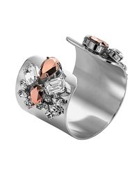 Mews London - Metallic Large Rose Silver Cuff - Lyst