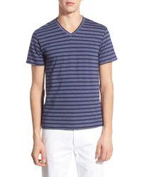 The Rail - Blue Stripe V-neck T-shirt for Men - Lyst
