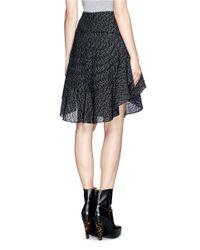 Chloé - Black Ruffle Wool-blend Skirt - Lyst