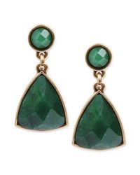 Lucky Brand | Goldtone Green Stone Drop Earrings | Lyst