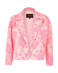 River Island - Fluro Pink Jacquard Cropped Jacket - Lyst