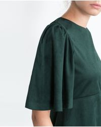 Zara | Green Faux Suede Dress | Lyst