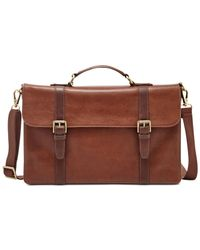 Fossil | Brown Estate Thompson Portfolio Brief for Men | Lyst