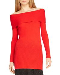 Halston - Red Off The Shoulder Cashmere Sweater - Lyst