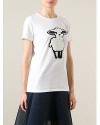 DKNY - White Sheep Applique T-Shirt - Lyst
