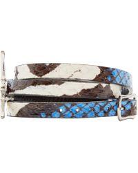 McQ   Black And Blue Snakeskin Swallow Charm Bracelet   Lyst