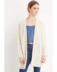 Forever 21 | Natural Cable Knit Cardigan | Lyst