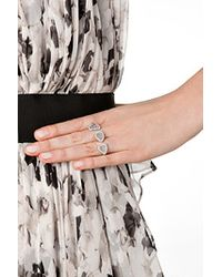 Susan Foster - White 14k Double Ring With Slice And Micro Pave Diamonds - Silver - Lyst
