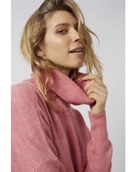 TOPSHOP - Pink Zip Back Roll Neck - Lyst