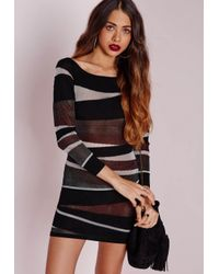 Missguided | Slashed Off Shoulder Mini Dress Black | Lyst