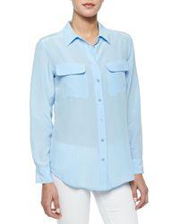 Equipment - Blue Signature Slim Silk Blouse - Lyst