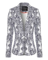 Jane Norman - Gray Paisley Print Tailored Blazer Jacket - Lyst