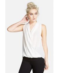TOPSHOP | Natural Sleeveless Drape Blouse | Lyst