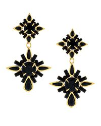 Vince Camuto | Black Gold-tone Drama Drop Earrings | Lyst