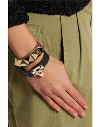 Valentino | Black Metal Glam Leather And Gold-tone Bracelet | Lyst