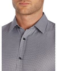 HUGO - Black Elisha01 Slim Fit Micro Houndstooth Shirt for Men - Lyst