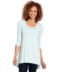 Karen Kane | Green Three Quarter Sleeve High/low Tunic Top | Lyst