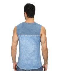 DKNY - Blue 50/50 + Solid Jersey Pieced Muscle Tank Top for Men - Lyst