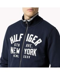 Tommy Hilfiger - Blue Cotton Blend Zip Through Sweater for Men - Lyst