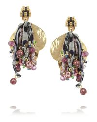 Etro | Purple Va Goldplated Tourmaline and Silk Clip Earrings | Lyst