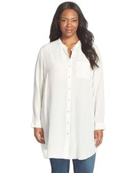 Eileen Fisher | White Silk Mandarin Collar Long Shirt | Lyst