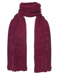 Jules B - Red Cable Knit Scarf for Men - Lyst