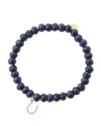 Sydney Evan - Blue 6Mm Faceted Sapphire Beaded Bracelet With 14K Yellow Gold/Diamond Medium Hamsa Charm (Made To Order) - Lyst