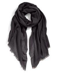 Echo - Gray Solid Wool Wrap - Lyst