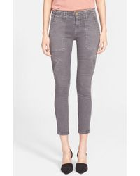 Current/Elliott | Gray 'The Conductor' Skinny Crop Jeans | Lyst