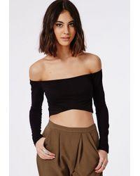 4aaf85745970f9 Missguided Long Sleeve Bardot Crop Top Black in Black - Lyst