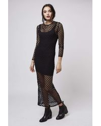 TOPSHOP | Black Mesh Maxi Dress By Escapology | Lyst