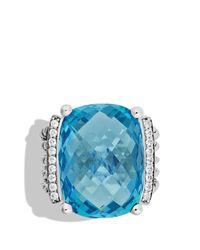 David Yurman - Metallic Wheaton Ring With Blue Topaz And Diamonds - Lyst