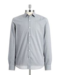 Perry Ellis | Gray Slim Fit Checkered Sportshirt for Men | Lyst