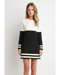 Forever 21 | Black Stripe-trim Colorblocked Dress | Lyst
