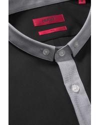 HUGO - Black 'erren' | Slim Fit, Cotton Button Down Shirt for Men - Lyst