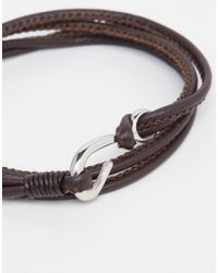 Seven London - Brown Wraparound Hook Bracelet for Men - Lyst